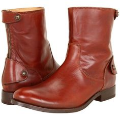Frye Melissa Button Zip Short (Cognac Soft Vintage Leather) Women's... ($240) ❤ liked on Polyvore featuring shoes, boots, ankle booties, ankle boots, brown, short ankle boots, brown booties, short boots, brown ankle booties and short heel booties