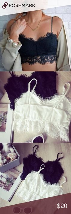 HOST PICK! 4/12  black lace crop bralette  Can be converted to tube top, comes with the straps to make it a spaghetti strap top. One size, fits S,M,L. Bust: 29.16-36.25inches. Elastic bands, no wires. Unpadded. Intimates & Sleepwear Bras