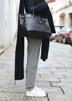 sneakers: Adidas Stan Smith, jacket: Ewigem bag: Hermes, trousers: Zara