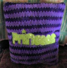 "THROW PILLOW for Little Girls Purple w/ Green Letters say ""Princess"" 14""x12"" #Unknown"