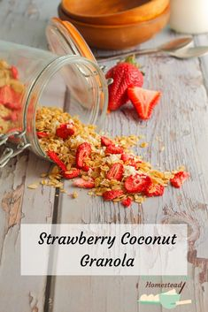 Strawberry Coconut Granola - Recipes from the Homestead Brunch Recipes, Gourmet Recipes, Real Food Recipes, Breakfast Recipes, Breakfast Ideas, Snack Recipes, Breakfast Bars, Free Breakfast, Brunch Ideas