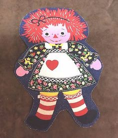 Vintage Raggedy Ann  Iron On Applique Patch 8 1/2 inches High
