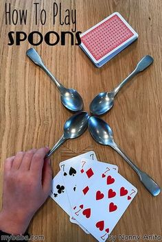 How to play spoons. A fast paced card game, perfect for family games night. How to play spoons. A fast paced card game, perfect for family games night. Family Card Games, Fun Card Games, Card Games For Kids, Playing Card Games, Games For Teens, Adult Games, Adult Party Games, Group Card Games, Family Games For Kids