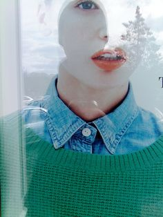love the denim collar and beautiful green sweater with orange lips