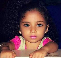 Image via We Heart It #baby #beautiful #blueeyes #girl #love #pink #afrohair