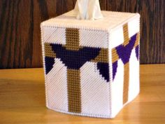 Easter Cross Tissue Box Cover, plastic canvas, needlepoint item,  happy easter,  easter decor, religious cross, easter gift idea