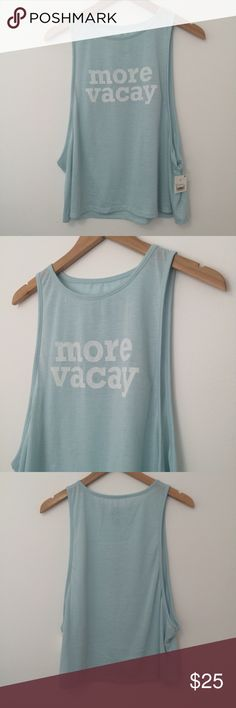 """""""More Vacay"""" Tank Adorable open side seam slight crop top tank. Flowy style! Would be great with a lacy tank. Very soft and unique. Tops Tank Tops"""