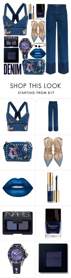 """Denim Dream"" by rachel-blum ❤ liked on Polyvore featuring Valentino, Lime Crime, Yves Saint Laurent, Alima, NARS Cosmetics, Butter London, KYBOE!, Bobbi Brown Cosmetics and David Yurman"