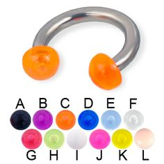 Acrylic half ball titanium horseshoe barbell, 10 ga