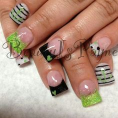 Lime Green and black glitter nails. CREDIT: Beauty Is Payne on Facebook