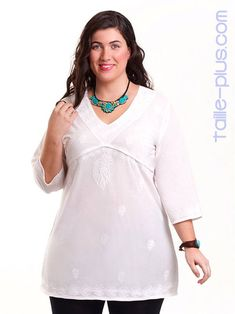 Blusa bordada carisal en tallas grandes plus size