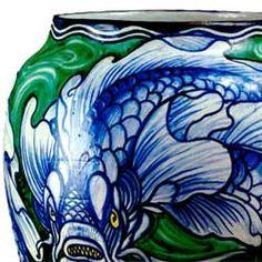 Galileo Chini (1873-1956), Glazed Decorated Ceramic Vase. Detail.