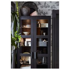 """BRIMNES Glass-door cabinet, black, 31 1/2x74 3/4"""" - IKEA Ikea Glass Cabinet, Glass Shelves In Bathroom, Brimnes, Ikea Cabinets, Black Cabinets, Kitchen Cabinets, Black Display Cabinet, Display Cabinet Lighting, Billy Regal"""