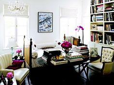 Reading space + built-in book shelves + interesting books + feminine details = yes, please.