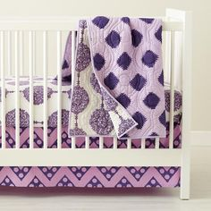 The Land of Nod | Baby Crib Bedding: Baby Purple Patterened Crib Bedding Set in Crib Bedding