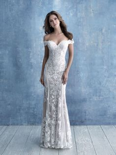 appliques line this slim-fitting sheath Allure Bridal wedding gown, featuring delicate off-shoulder cap sleeves. Flowing into a gorgeous lace illusion train! Available in plus size. Range in color. V Neck Wedding Dress, Luxury Wedding Dress, Classic Wedding Dress, Modest Wedding Dresses, Bridal Dresses, Wedding Gowns, Elegant Wedding, Spanish Lace Wedding Dress, Wedding Dress Sheath