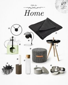 Gifts for the Home (House & Hold blog): Pleece throw by Marianne Abelsson and Björk stool in wool by Lena Bergström, both for Design House Stockholm. A. Time Clock • B.FlowerPot VP4 Table Lamp • C. Pleese Throw • D. Glass Kettle Teapot • E. Bjork Stool • F. Norm Flip Table • G. Shumai Bowl - Small • H. Reversible Cylinder Candleholder • I. Water Carafe • J.Classic Salt Cellar • K. Liaison Bowl
