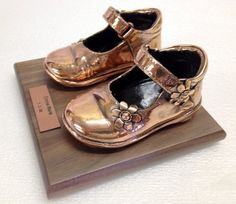 Bronze your baby's shoes www.bronzery.com Bronze Baby Shoes, Military Cap, Shoe Crafts, Clay Pot Crafts, Baby Prams, Shoe Art, Clay Pots, Pin Cushions, Grandparents