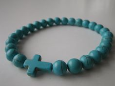 Men's Bracelet, Blue Howlite sideways cross unisex bracelet, stress dissolving, healing stones on Etsy, $28.55 CAD