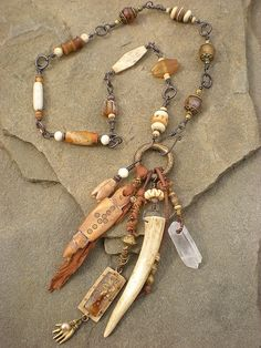Antler Shaman's amulet necklace by Maggie Zee  http://ift.tt/1RK3i6a - handmade - jewelry - jewellery - artisan - earrings -