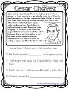 Printable Celebrating Cesar Chavez Biography of Cesar