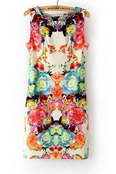 Folky Print Sleeveless Dress