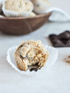 whole wheat peanut butter chocolate chip muffins.