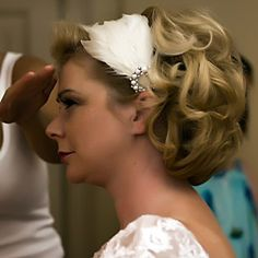 50's style Feather bridal headband
