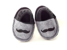 Infant Crib Shoes Baby Mustache Slippers Baby Shoes Fleece Booties Soft Felt Soles Gray Black 0-3 3-6 Months. $25.00, via Etsy.