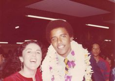 Barack Obama and his mother, Ann, at his high school graduation.
