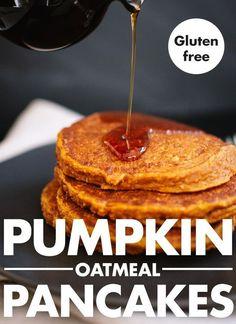 Fluffy, spiced pumpkin pancakes made with oat flour. These pumpkin oatmeal pancakes are gluten free and simple to make! Pumpkin Oatmeal, Pumpkin Spice, Spiced Pumpkin, Pumpkin Bread, Apple Oatmeal, Canned Pumpkin, Banana Oat Pancakes, Healthy Pumpkin Pancakes, Oat Flour Pancakes