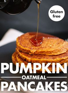 Delicious gluten-free pumpkin pancakes made with only one flour—oat flour! cookieandkate.com