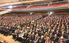 Main auditorium of Palace of the Republic in Minsk, Belarus (Belarusian People's Assembly in session)