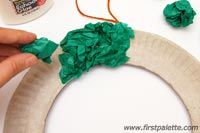 Step 4 Tissue Paper Christmas Wreath craft