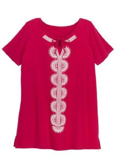 Plus Size Tunic, With Print Front, Raglan Sleeves $11.58 (59% OFF)