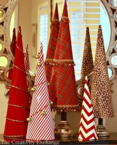 Poster board cone Christmas trees covered in fabric or paper