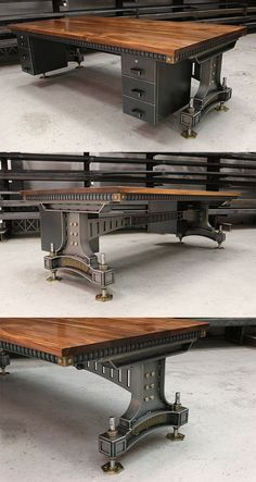 The Brunel Desk - Beautifully impressive industrial design. The handcrafted base is constructed using heavy gauge steel plate which supports the solid walnut or oak top. The subtle brass details add a hint of classic vintage industrial style to the heavily engineered legs.