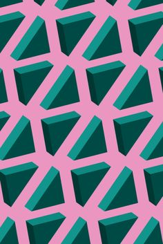pattern | green triangles on pink DAJA https://es.pinterest.com/danijavor/
