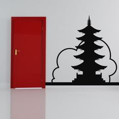 Chinese Building Wall Sticker Landmark Wall Decal Art available in 5 Sizes and 25 Colours X-Large Basalt Grey: Amazon.ca: Home & Kitchen