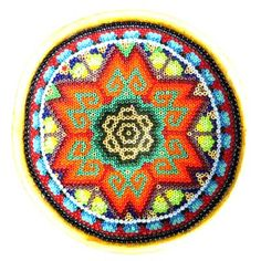 Huichol Beaded Bowl with Gold Peyote in Microbeads