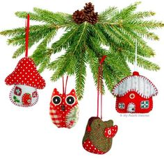 4 x Printed Sewing Patterns, Christmas Ornaments