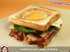 Ideas que mejoran tu vida Tapas, Bacon, Sandwich Video, Pizza Burgers, Sandwiches, Spanish Food, Barbecue Sauce, French Toast, Deli