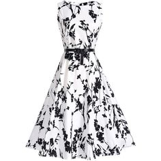 Fabulous Round Neck  Belt  Printed Skater Dress (2,105 INR) ❤ liked on Polyvore featuring dresses, white cotton dress, day summer dresses, summer dresses, round neck dress and white day dress