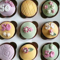 Ditsy 50th birthday cupcakes