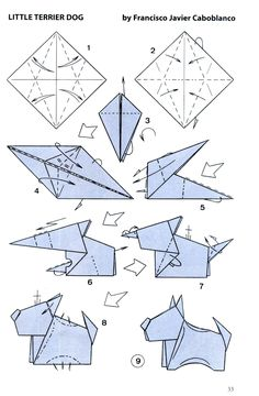 little terrier dog folding instructions Origami 3d, Design Origami, Origami Folding, Paper Crafts Origami, Origami Easy, Paper Folding, Diy Paper, Oragami, Origami Human