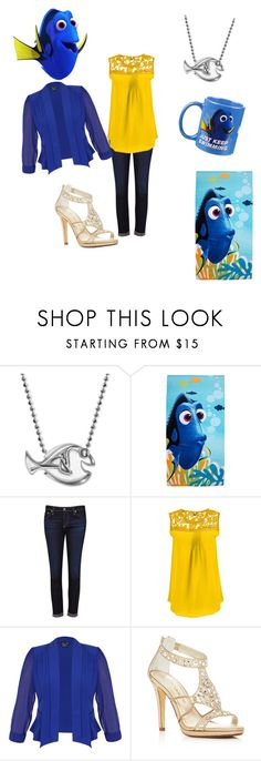"""""""Dory"""" by tluebke ❤ liked on Polyvore featuring Alex Woo, Disney, AG Adriano Goldschmied, City Chic, Caparros, Disney Pixar Finding Dory and plus size clothing"""