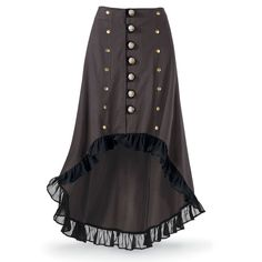 This is interesting, however it's also around 80 bucks.  If one had some sewing skills and time though, one could probably make something similar by modifying an existing skirt... cut the bottom... sew some lace around the bottom... lines of buttons.... maybe a few black velvet strips for stripes in the back/sides...