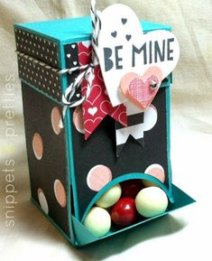 Snippets and Pretties- Re-fillable Candy dispenser Valentine with a closeable spout!