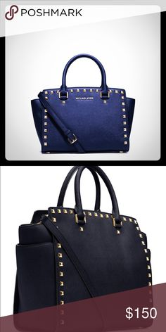 Michael Kors Studded Selma Crossbody Bag in Navy Used but in great condition! 100% Authentic. Michael Kors Studded Selma crossbosy bag in Navy. Size Medium. Comes with dust bag. Michael Kors Bags Crossbody Bags