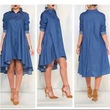 Casual Denim Blue Pockets Shirt Irregular Loose Dress - M / Denim blue Womens Denim Dress, Denim Shirt Dress, Denim Shirts, Denim Jeans, Flannel Shirts, Blouse Dress, Bodycon Dress, Casual Dresses, Fashion Dresses